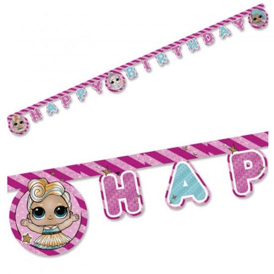 Lol Bebek Surprıse Temalı Happy Birthday Uzar Duvar Yazı Seti