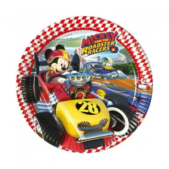 Mickey Mause Roadster Temalı Karton Tabak 23 Cm (8 Adet)