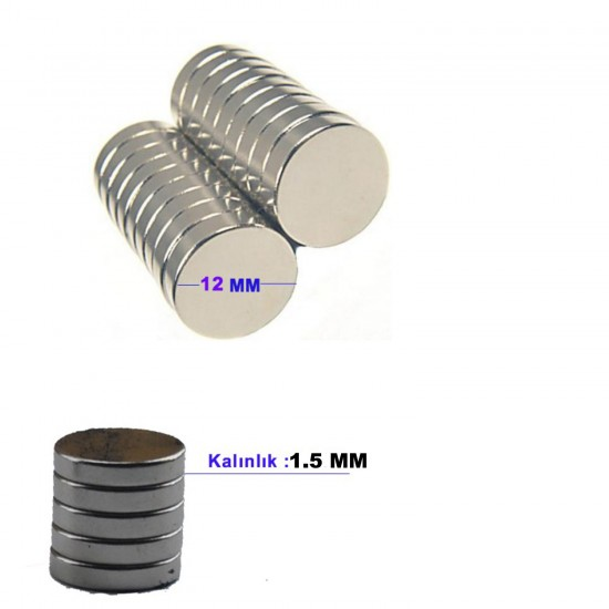 Çelik Mıknatıs 12 MM X 1.5 MM (70 Adet)