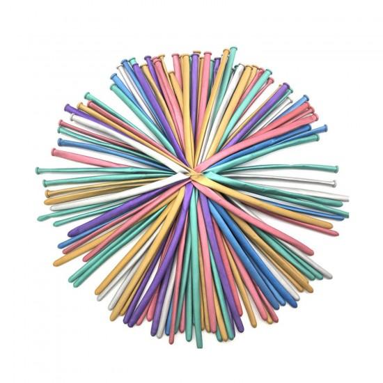 Mirror Sosis Balon KROM Karışık Renk (10 Adet)