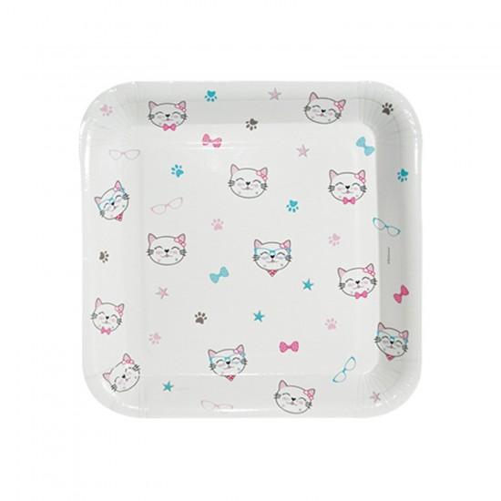 Miss Cat Temalı Karton Tabak Kedi Baskılı KARE Mode 18CM (8 Adet)