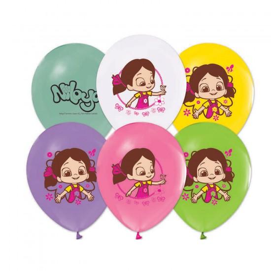 Niloya Temalı Pastel Balon  Niloya Baskılı 12 İNÇ  (20 Adet)