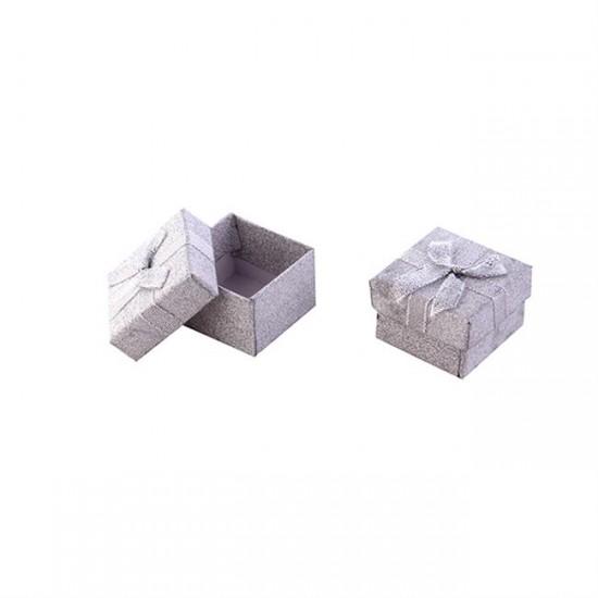 Kutu Karton Floklu Yaldızlı Gümüş (10 Adet)