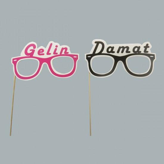 Gözlük Çubuk Gelin-Damat (10 Adet)