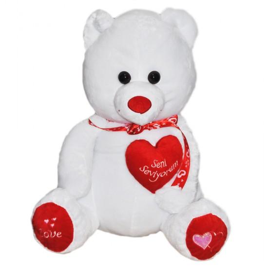 Peluş Büyük Boy Ayı Seni Seviyorum Yazılı Kalpli  50 Cm