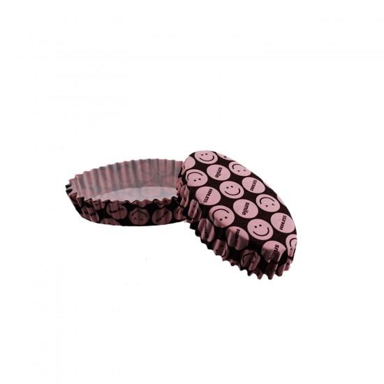 Cupcake Kalıbı Pet Kapsül Oval Desenli Kek Kalıbı (100 Adet) F11