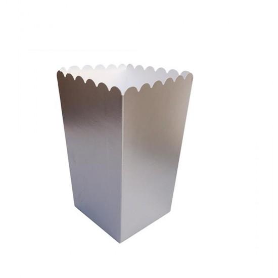 Popcorn Kutusu Karton Düz Renkli Altın / Gümüş (10 Adet)