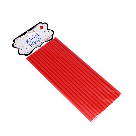 Düz Renkli Kağıt Pipet (25 Adet)