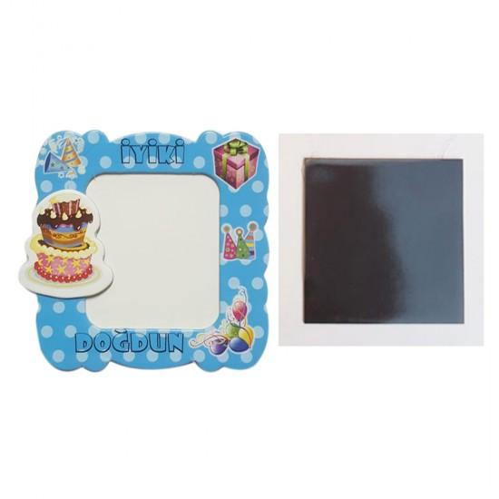 Resim Çerçevesi Karton Magnetli İyiki Doğdun Pastalı (25 Adet)