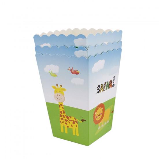 Safari Hayvanlar Temalı Karton Popcorn ve Mısır Kutusu (10 Adet)