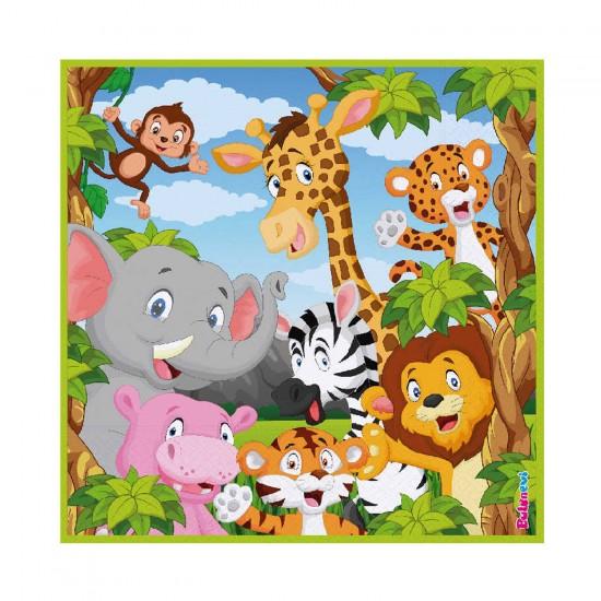 Safari Serisi Hayvanlar Temalı Kağıt Peçete 33X33 CM (16 Adet)