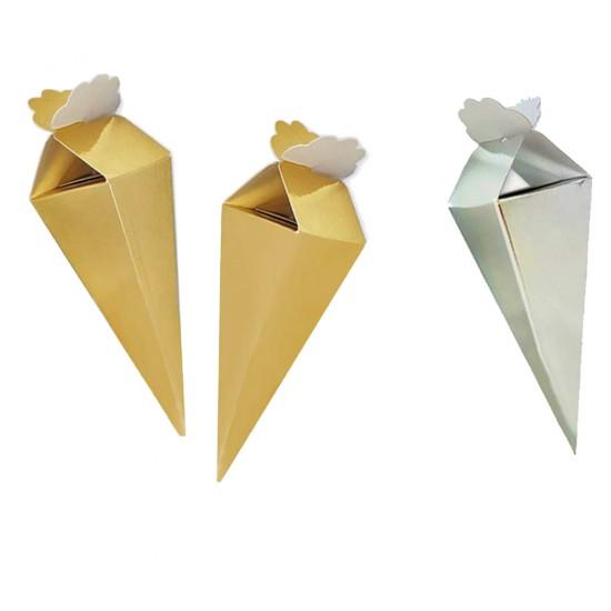 Şeker Külahı Karton Düz Renk Altın/Gümüş (50 Adet)