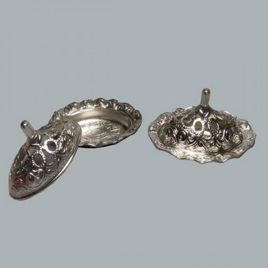 Lokumluk Mini Oval Fırfırlı Gümüş (20 Adet)