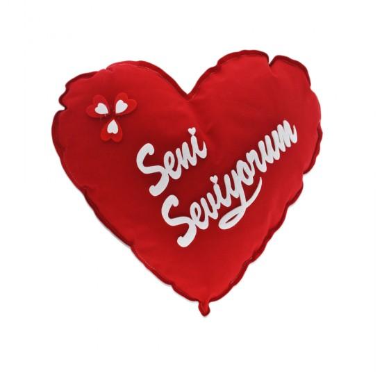 Seni Seviyorum Yazılı Peluş Kalp Yastık Kırmızı 30 Cm