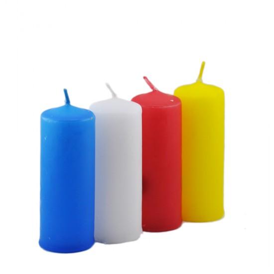 Silindir Mum Renkli 10 Cm (4 Adet)