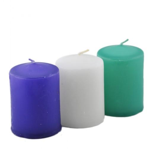 Silindir Mum Renkli 7 Cm (3 Adet)