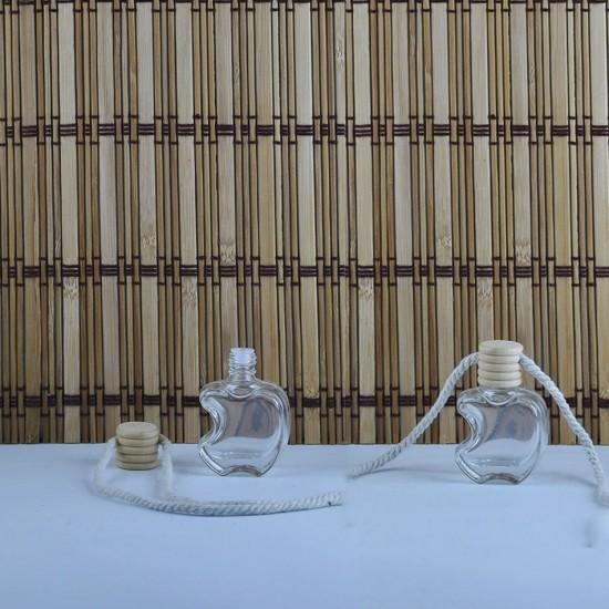 Cam Şişe Parfüm Şişesi Ahşap Kapaklı İpli Apple Modeli  (25 Adet)