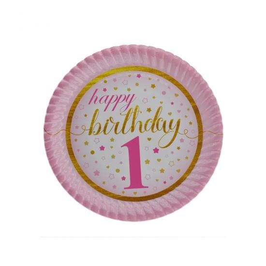 Tabak Karton 1 Yaş Happy Birthday Yıldızlı 23 Cm (8 Adet)