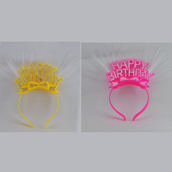 Taç Plastik Happy Birithday Simli Ve Renkli Işıklı