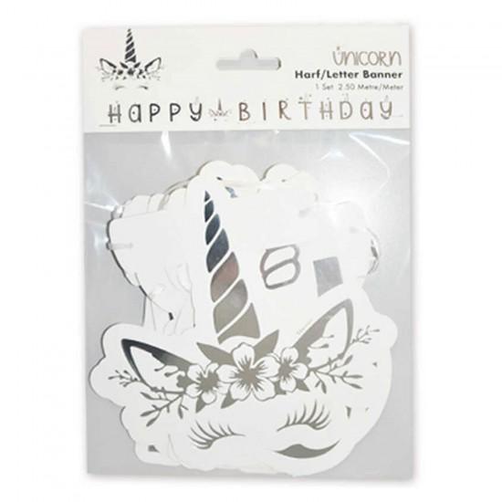 Unicorn Temalı Flama  Bayrak Seti Happy Birthday Yazılı 250 CM