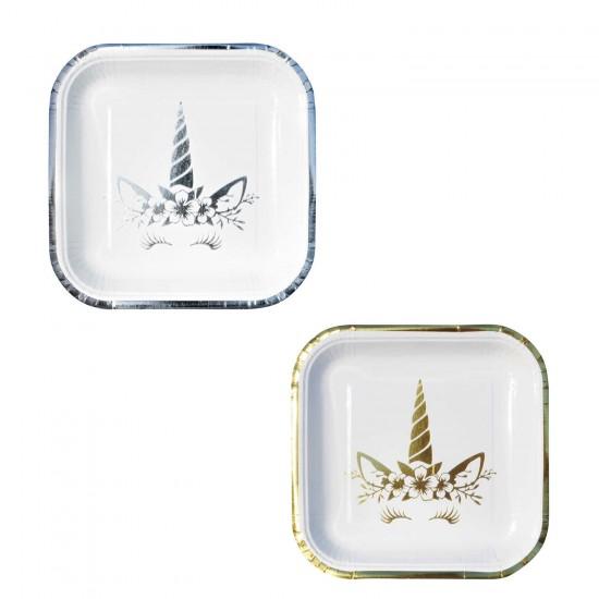 Unicorn Temalı Karton Varaklı Tabak KARE Model 23 CM (6 Adet)