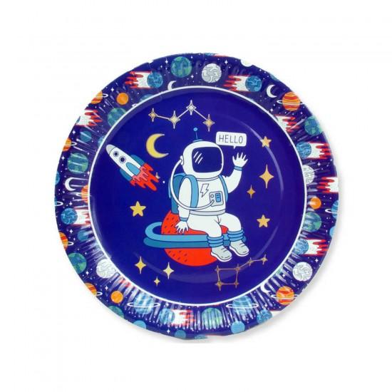 Uzay Temalı Karton Tabak Astronot Baskılı 23 CM (8 Adet)