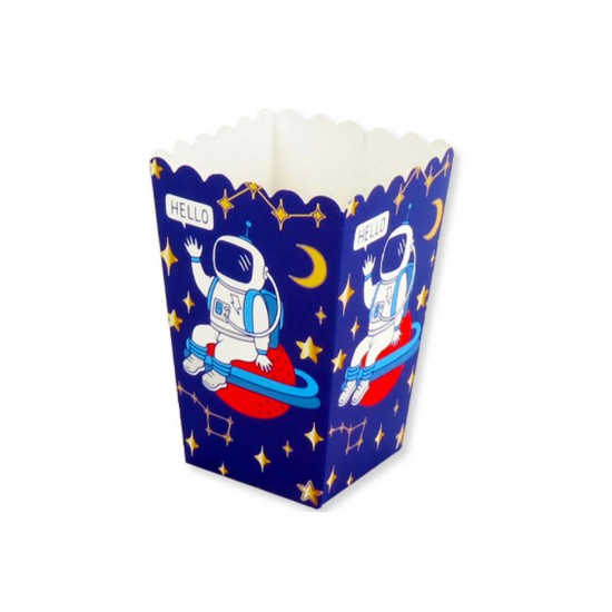 Uzay Temalı Popcorn Kutusu Karton Mısır Cips Kutusu 10 Adet