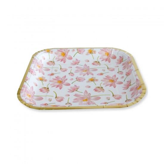 Varak Baskılı Karton Kare Tabak Çiçek Desenli Model 23 CM(6 Adet)