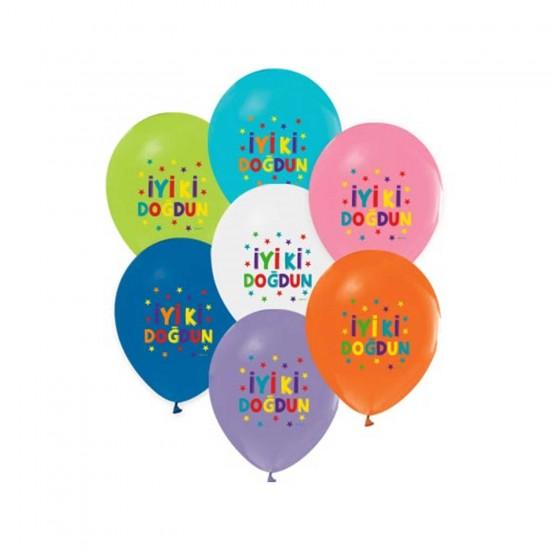 İyiki Doğdun Balon Funstar Temalı Karışık Renk 12 İNÇ (20 Adet)