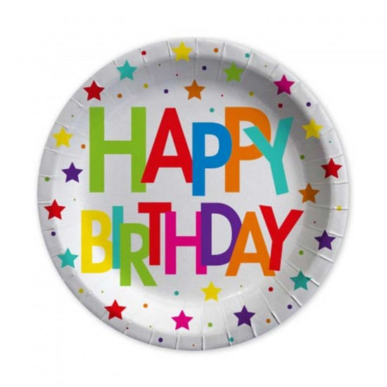 Happy Birthday Karton Tabak Superstar Temalı 23 CM (8 Adet)