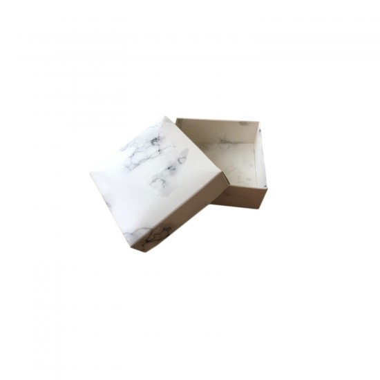 Komple Karton Kutu Mermer Desenli 8X8X3 CM (50 Adet)