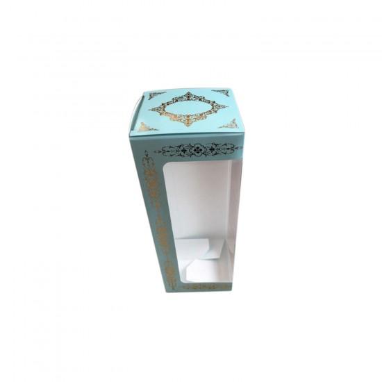 Pencereli Karton Kutu Saray Desen Gold Yaldız 8X8X20 CM (10 Adet)