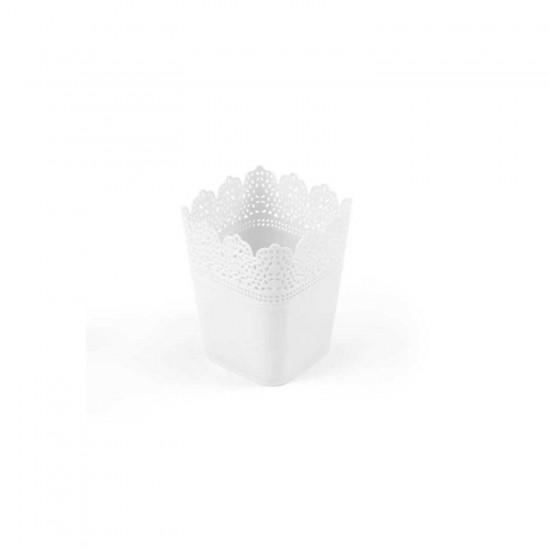 Saksı Dantelli Plastik Kare